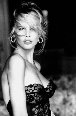 Изображение помечено: Blonde, Black and White, Claudia Schiffer